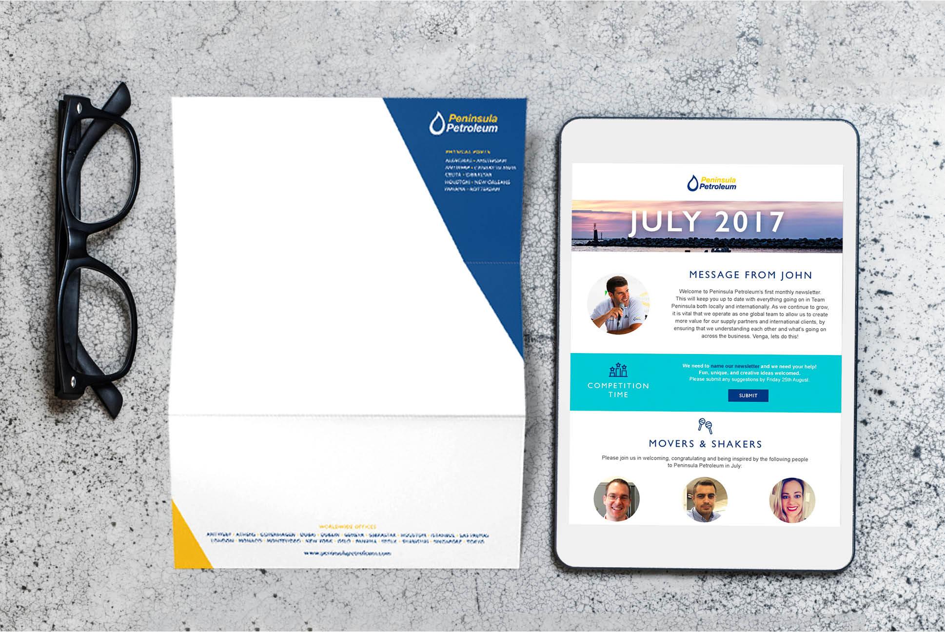 Peninsula Petroleum letterhead and email